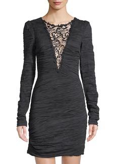 Free People Crinkle-Charmeuse Lace-Neck Mini Dress  Black