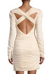 Free People Crinkle-Charmeuse Lace-Neck Mini Dress  Sand