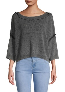 Free People Cropped Cotton Blend Sweater