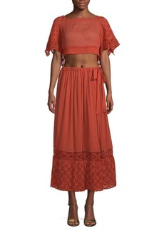 Free People Darling Two-Piece Cotton Cropped Top & Midi Skirt Set
