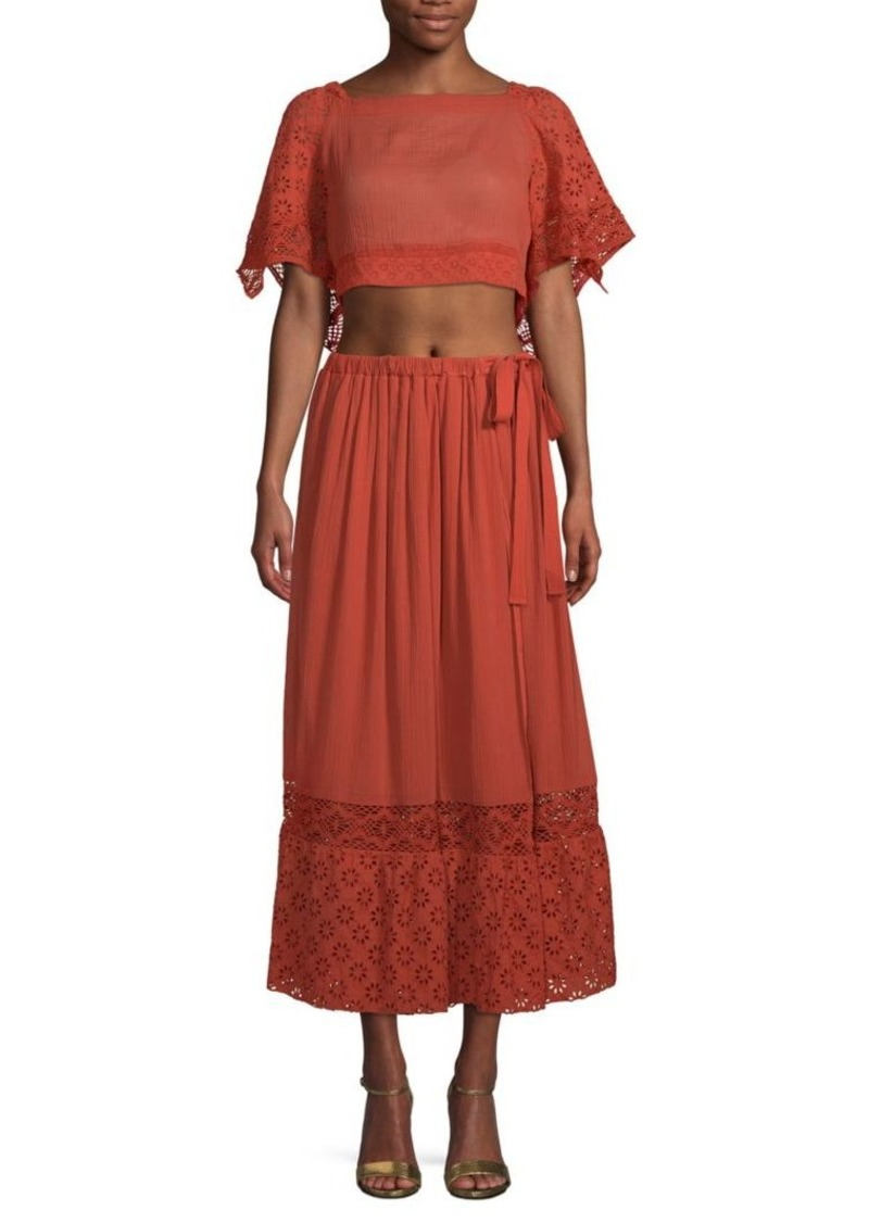 Free People Darling 2-Piece Cotton Cropped Top & Midi Skirt Set