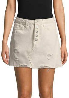 Free People Distressed A-Line Denim Skirt