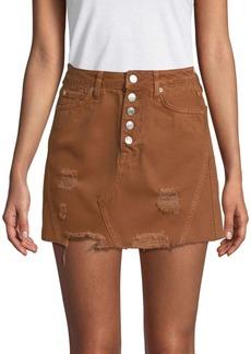Free People Distressed Denim Mini Skirt