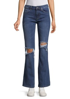 Free People Distressed Flared Jeans