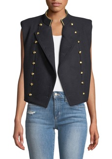Free People Double-Breasted Military Crop Vest