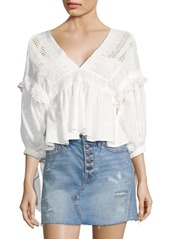 Free People Drive You Mad Ruffled Blouse