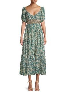 Free People Ellie Printed Midi Dress