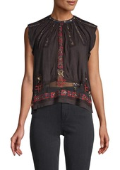 Free People Embellished & Embroidered Top