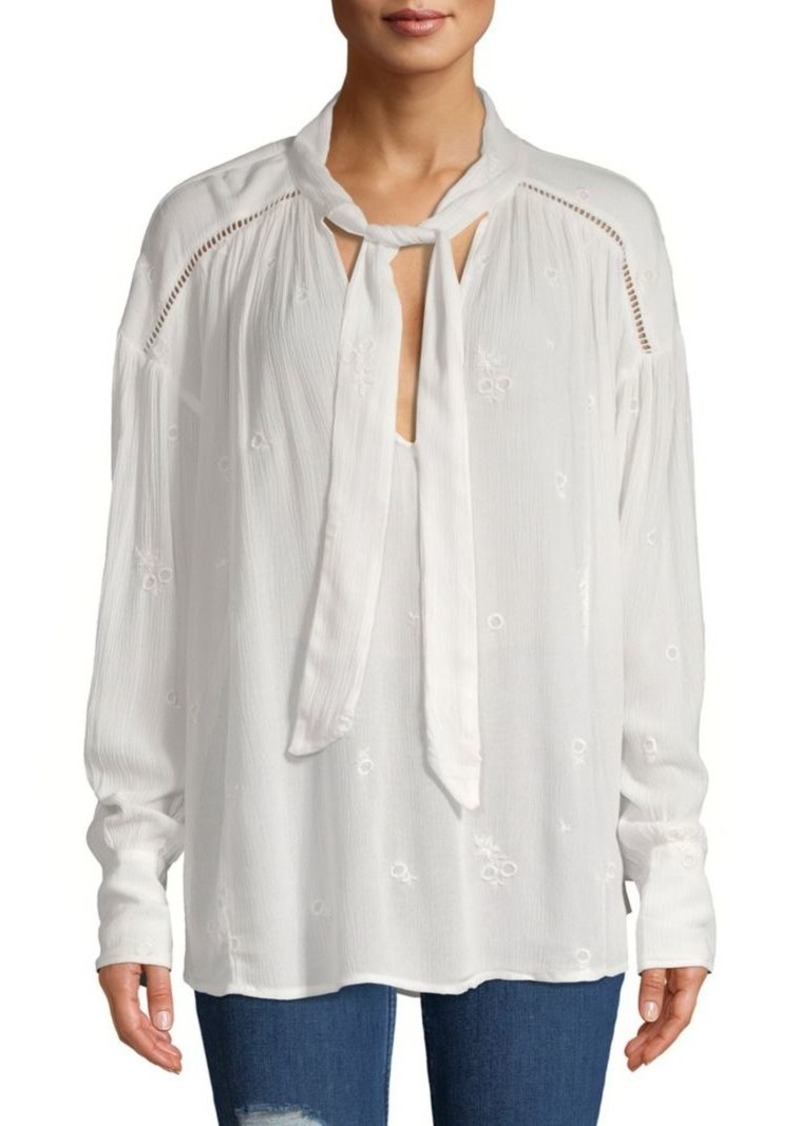 Free People Embroidered Bohemian Tie-Neck Blouse