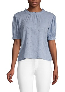 Free People Embroidered Eyelet Cotton Top