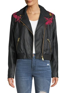 Free People Embroidered Faux-Leather Moto Jacket