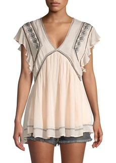 Free People Embroidered Flutter-Sleeve Tunic