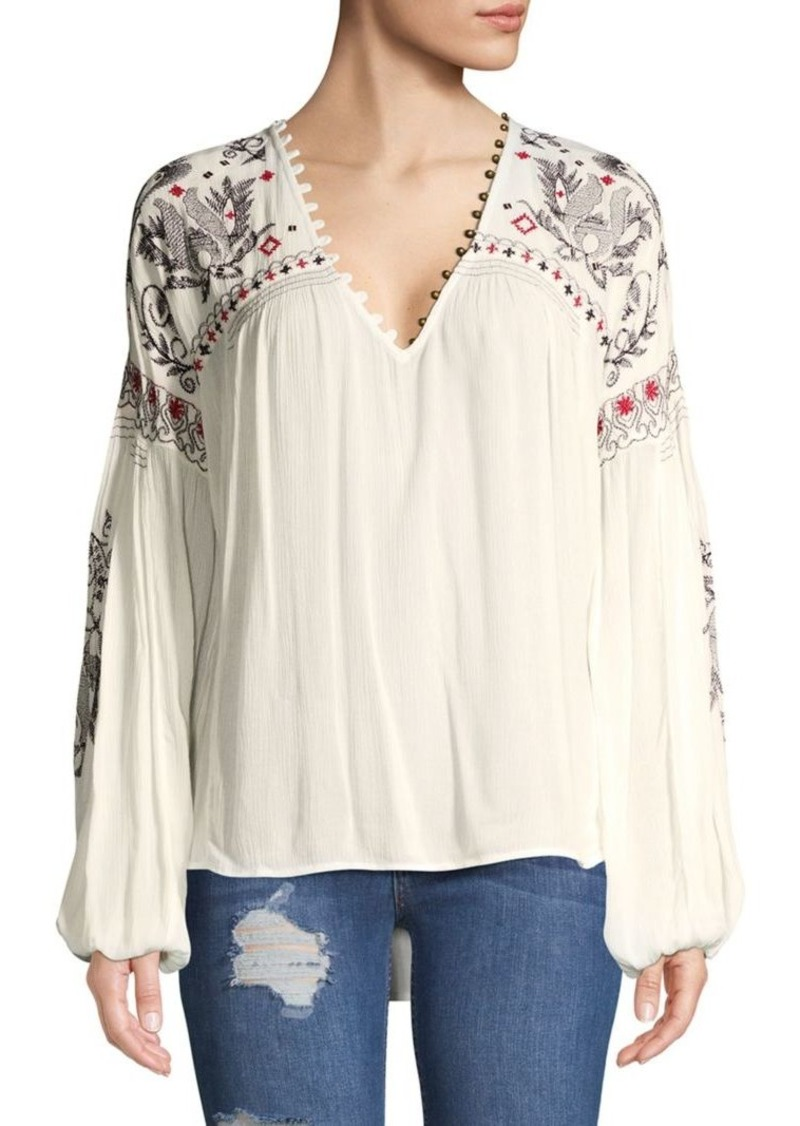 Free People Embroidered High-Low Top