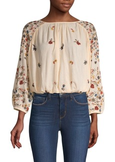 Free People Embroidered Long-Sleeve Blouse