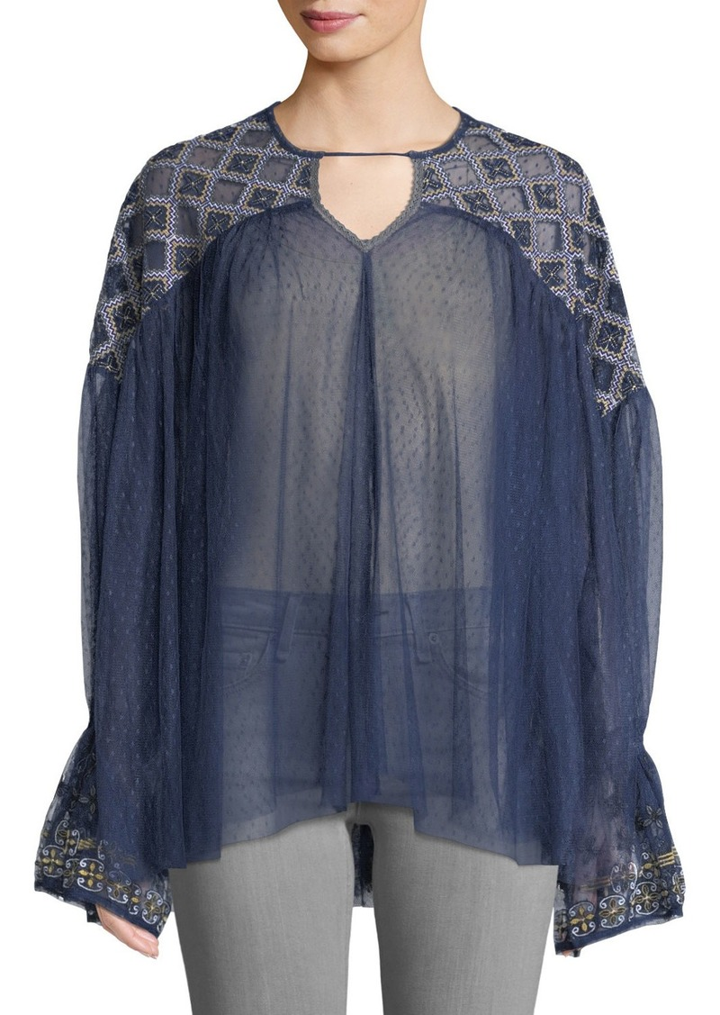 Free People Embroidered Mesh Flare-Sleeve Blouse