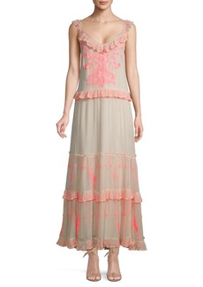 Free People Embroidered Ruffle Maxi Dress