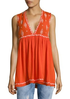 Free People Embroidered Sleeveless Top