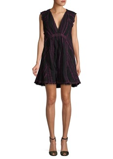 Free People Embroidered V-Neck Mini Dress
