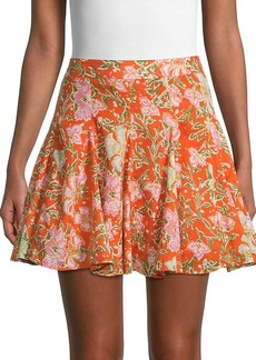 Free People End Of The Island Floral Godet Skirt