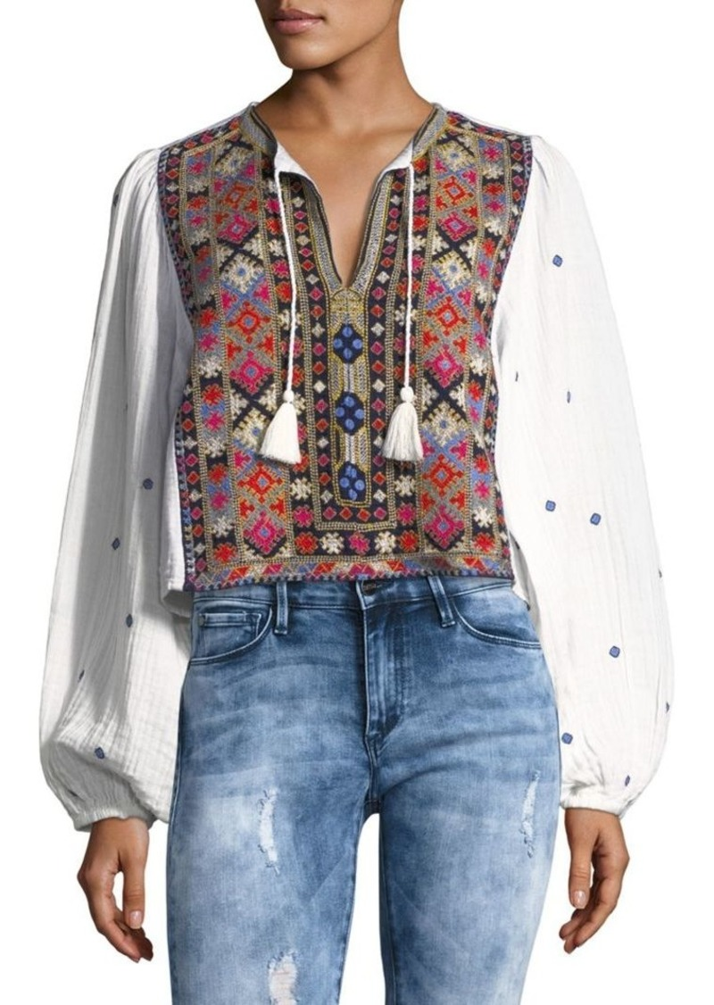 Free People Enter Love Embroidered Top