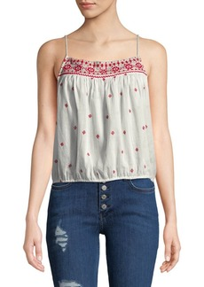 Free People Eternal Love Embroidered Cotton Top