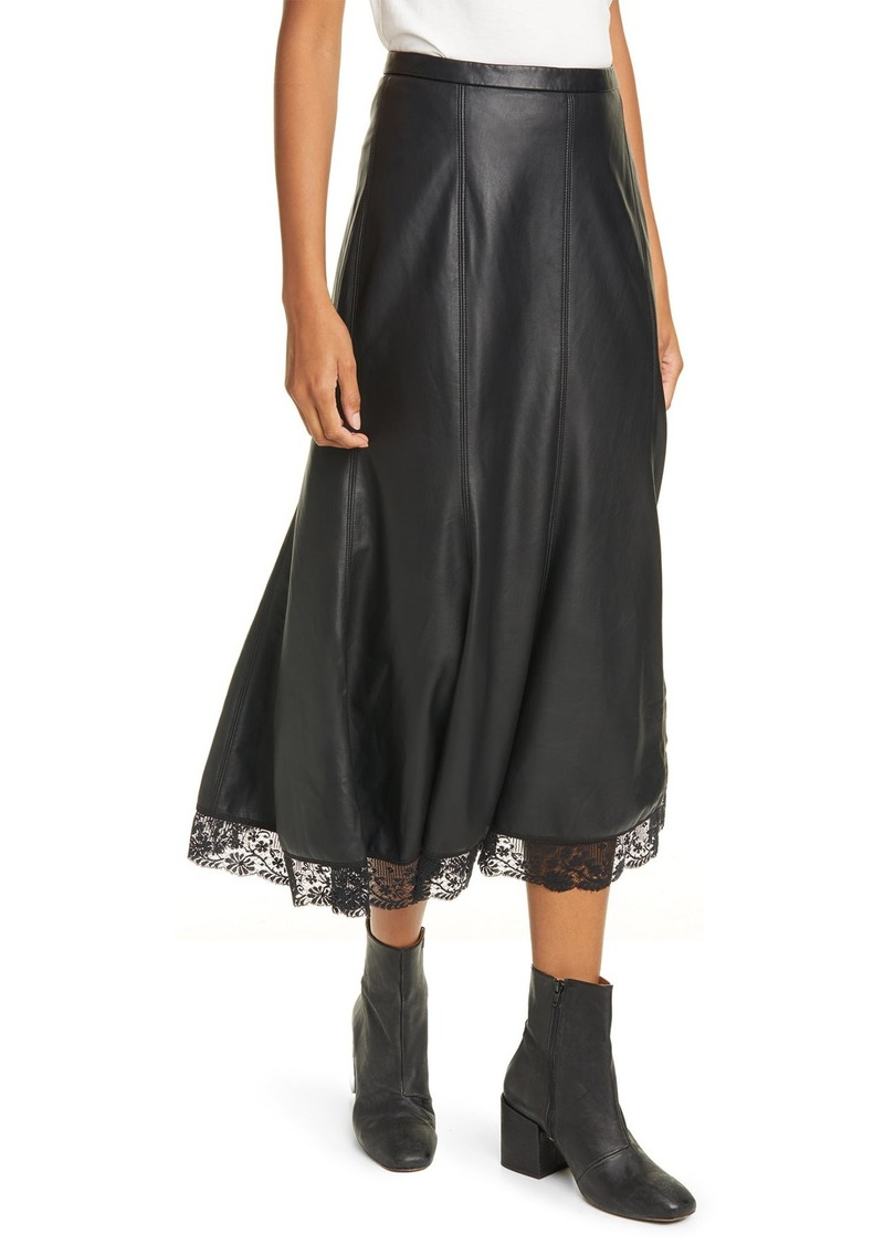 Film Noir Trumpet Faux Leather Midi Skirt