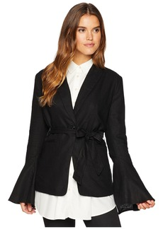 Free People Flared Sleeve Linen Blazer