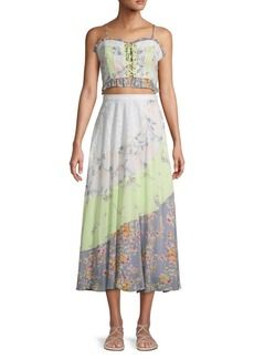 Free People Floral 2-Piece Cropped Top & Midi Skirt Set