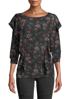Free People Floral 3/4-Sleeve Ruffle Top