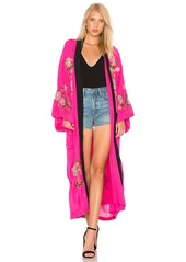 Free People Floral Embroidered Kimono