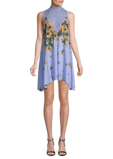 Free People Floral Lace-Accented Shift Dress