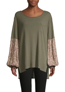 Free People Floral-Sleeve Cotton-Blend Top