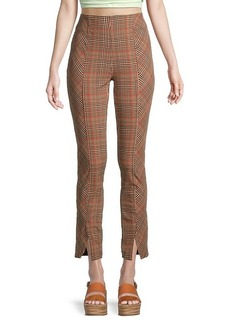 Free People Flying High Plaid Cropped Skinny Pants