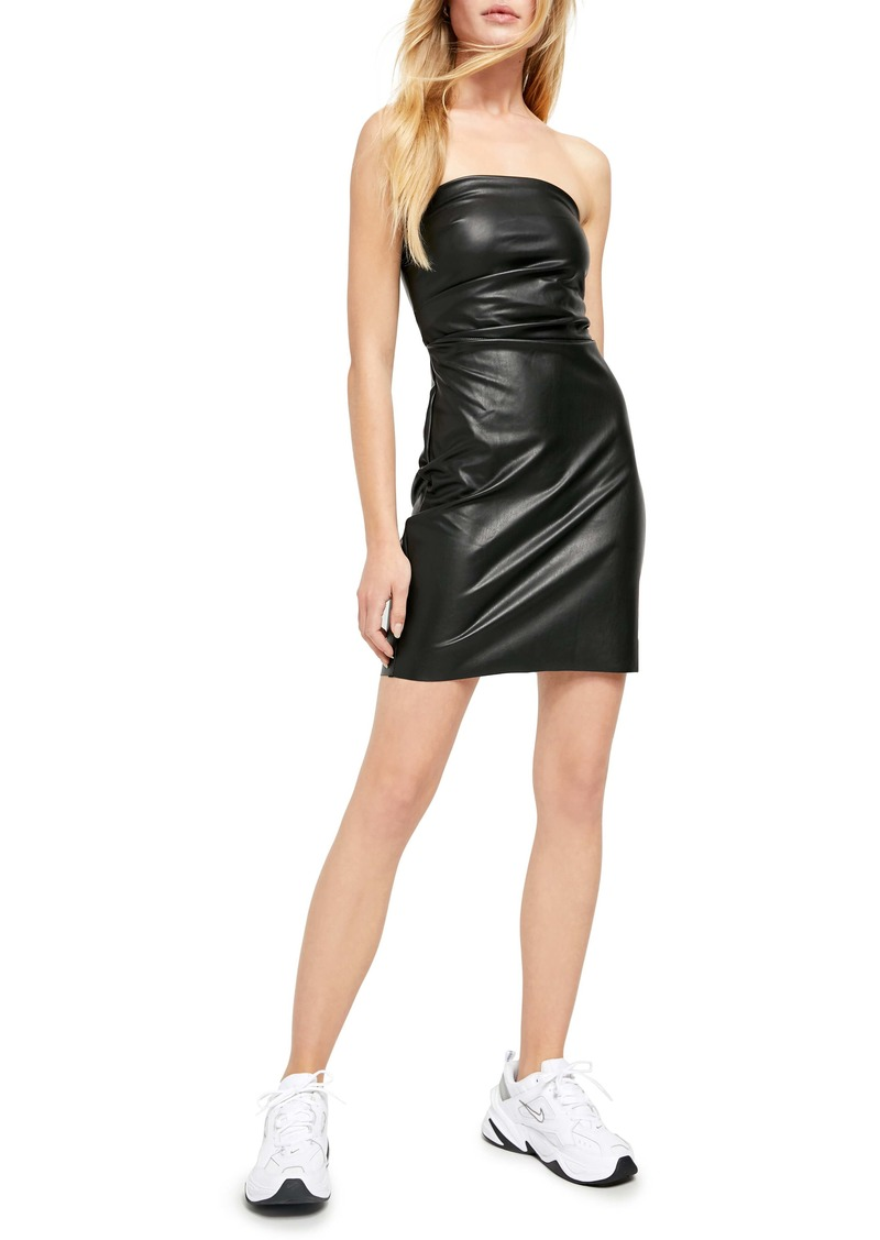 Free People After Hours Strapless Faux Leather Minidress