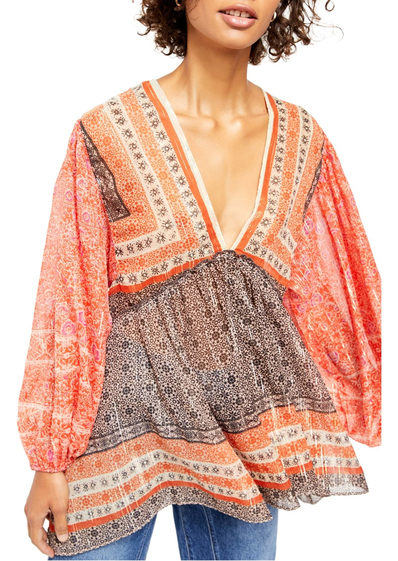 Free People Aliya Long Sleeve Print Tunic
