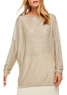 Free People All That Glitters Backless Long Sleeve Sweater