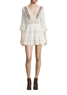 Free People Antiquity Mini Embroidered Lace Dress