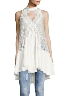 Free People Asymmetrical Lace-Accented Choker Tank