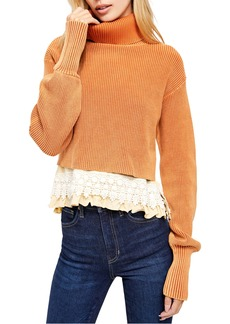 Free People At First Glance Crochet Hem Turtleneck Sweater