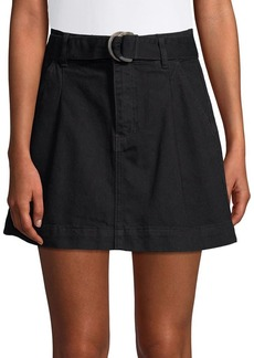 Free People Belted Denim A-Line Skirt