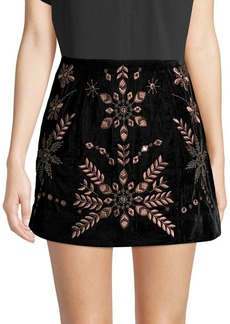 Free People Bright Lights Embroidered Velvet Skirt