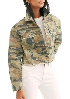 Free People Camo Print Crop Cutoff Denim Jacket
