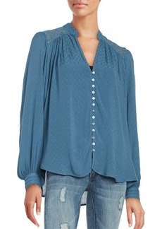 Free People Canyon Rose Lace Back Button Down Blouse