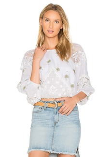 Free People Carolina Mindset Embroidered Top in White. - size L (also in M,S)