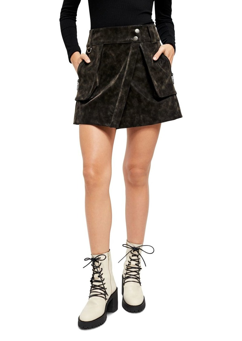 Free People Carson Faux Leather Utility Skirt