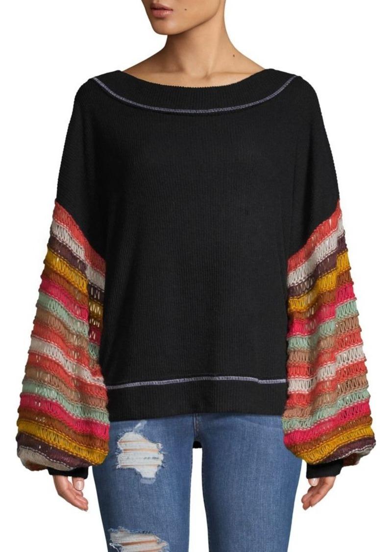 Free People Cha Cha Knit-Puff Sleeve Sweater