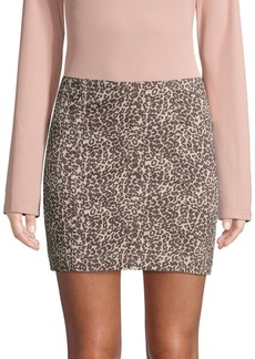 Free People Cheetah-Print Cotton-Blend Mini Skirt