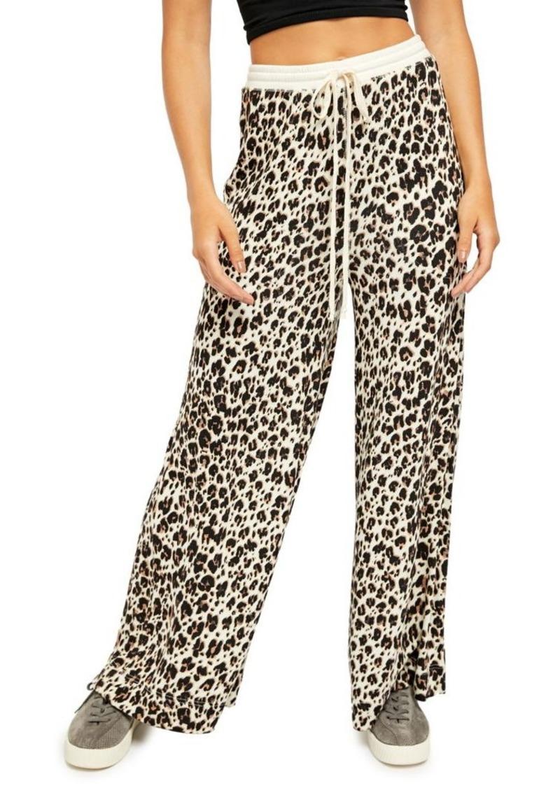 Free People Cheetah-Print Wide-Leg Drawstring Pants