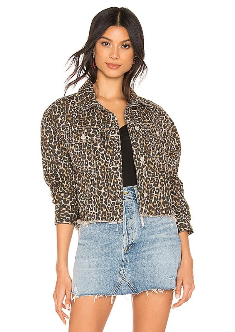Free People Cheetah Printed Denim Jacket