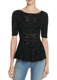 Free People Chenille Lace Peplum Top